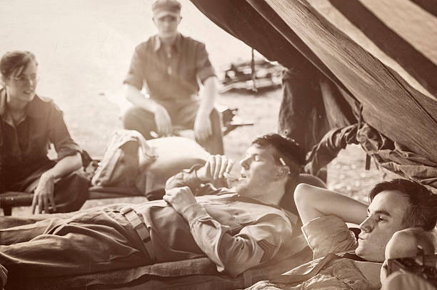 wwii military unit - taking in a little r&r - world war ii stock photos and pictures