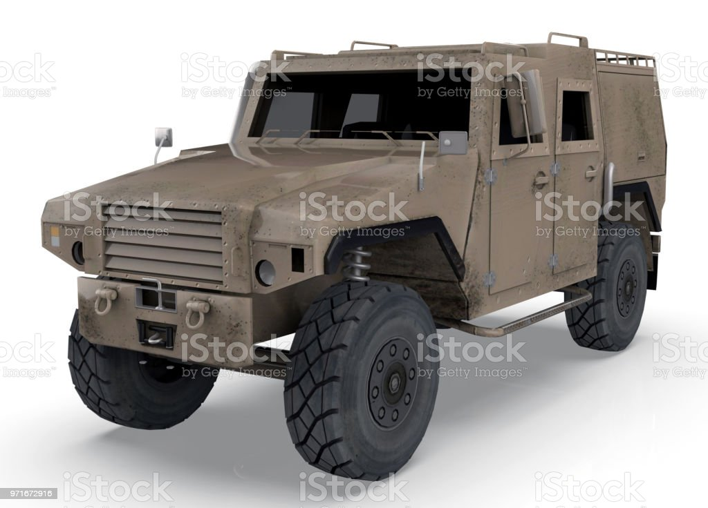 Military vehicle isolated on a white background - 3D Render stock photo