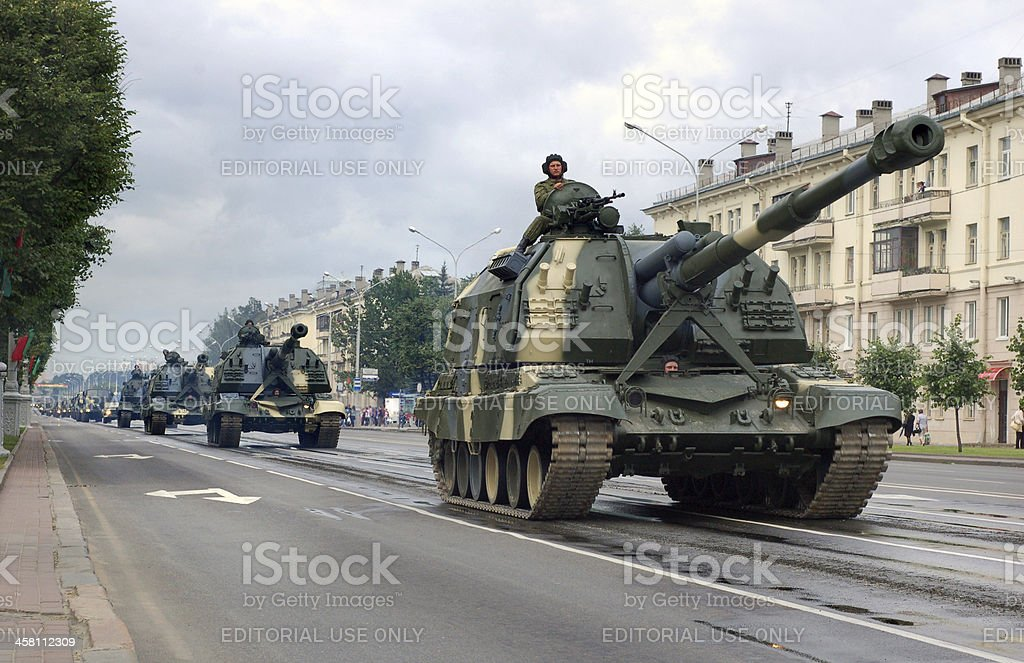 Military vehicles in Minsk royalty-free stock photo