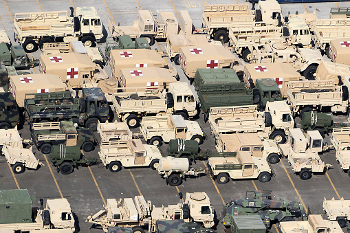 Aerial view military vehicles ready for shipment port of Jaxport Jacksonville Florida photograph taken August 2020