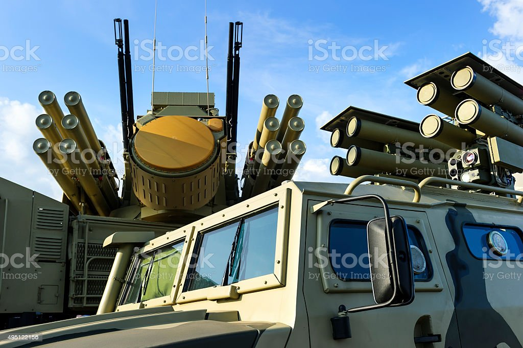 Military vehicles with missiles stock photo