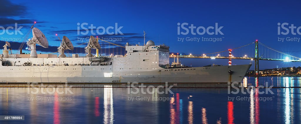 Military Vessel Docked in Halifax Harbour stock photo