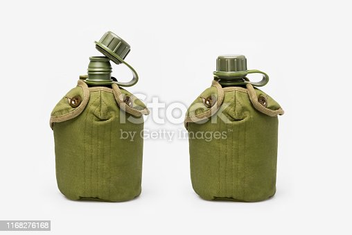 Military water Canteen. Army flask. Water bottle on white background