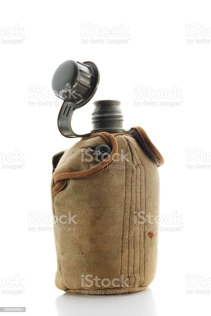 Military water  Canteen. Army flask. Water bottle on white background stock photo
