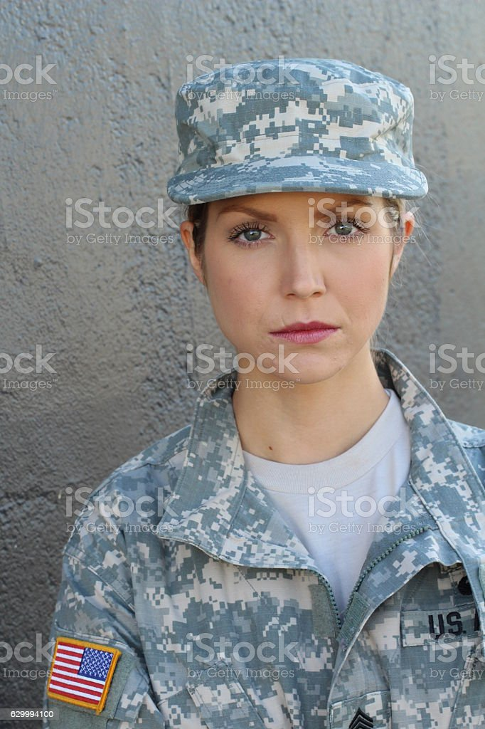 Military woman with serious expression stock photo