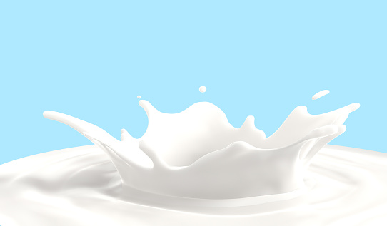 Milk a pouring splash isolated on blue background , 3D illustration