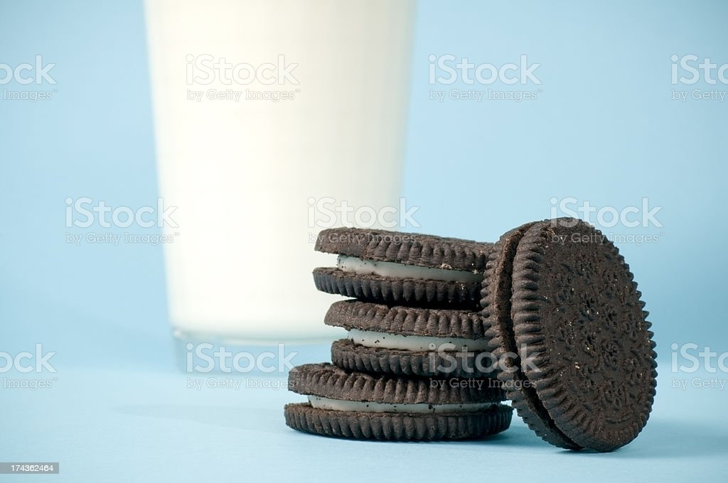 Milk & Cookies on Blue stock photo