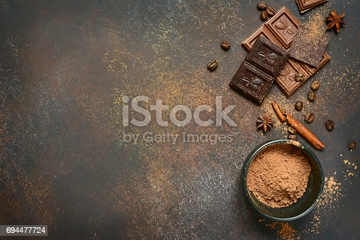 istock Milk and bitter chocolate with cocoa and spices 694477724