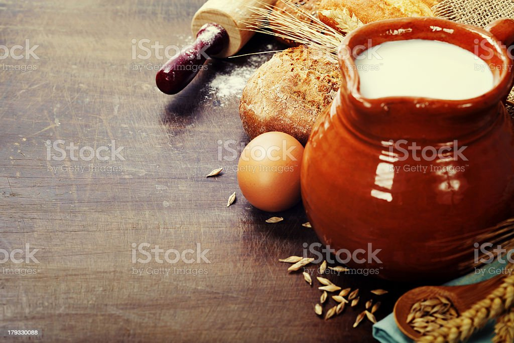 Milk and bread royalty-free stock photo