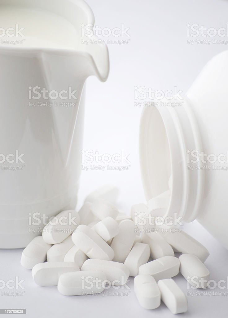 Milk and Calcium Supplement royalty-free stock photo
