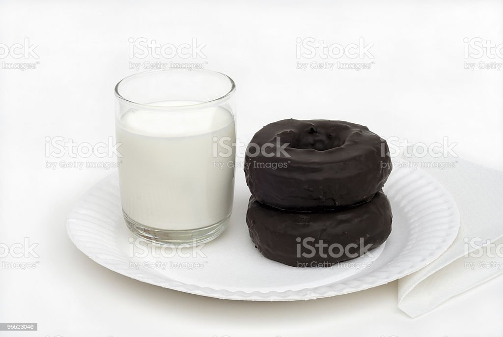 Milk and chocolate donuts stock photo