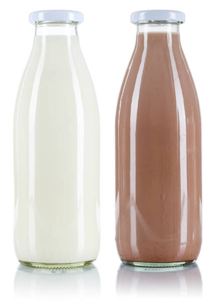 Milk and chocolate drink bottle isolated on white Milk and chocolate drink bottle isolated on a white background chocolate milk stock pictures, royalty-free photos & images
