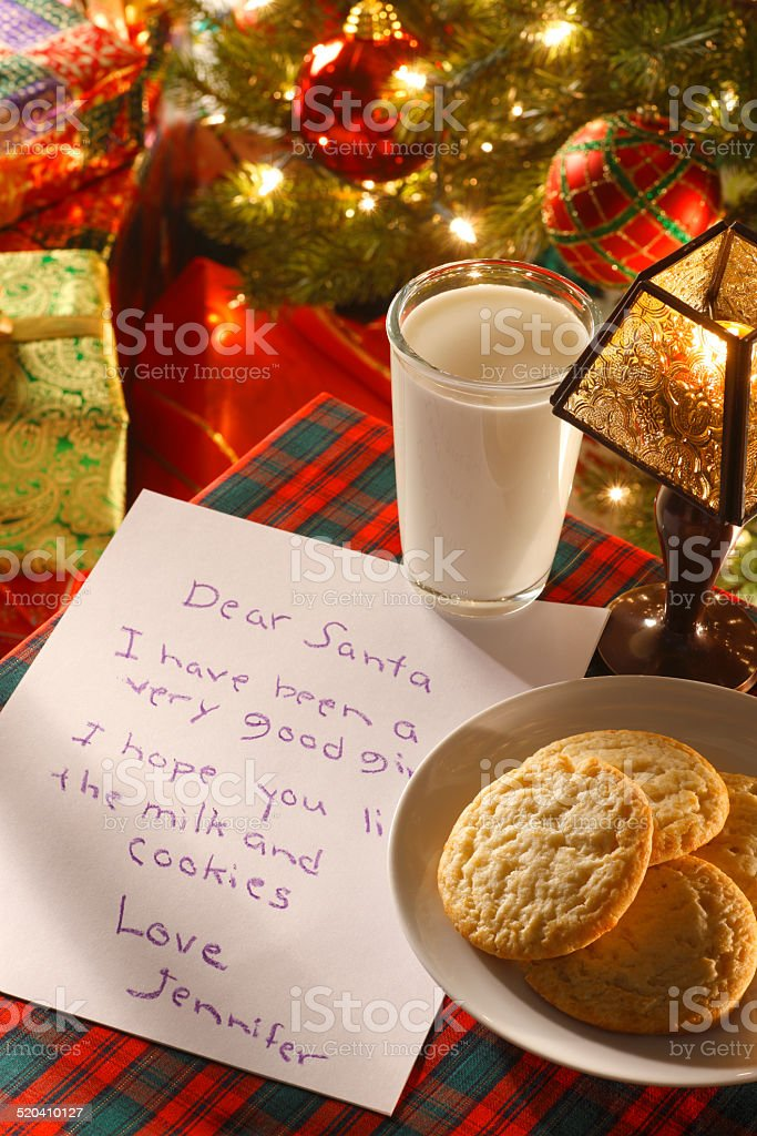 Milk And Cookies And A Letter For Santa Claus stock photo