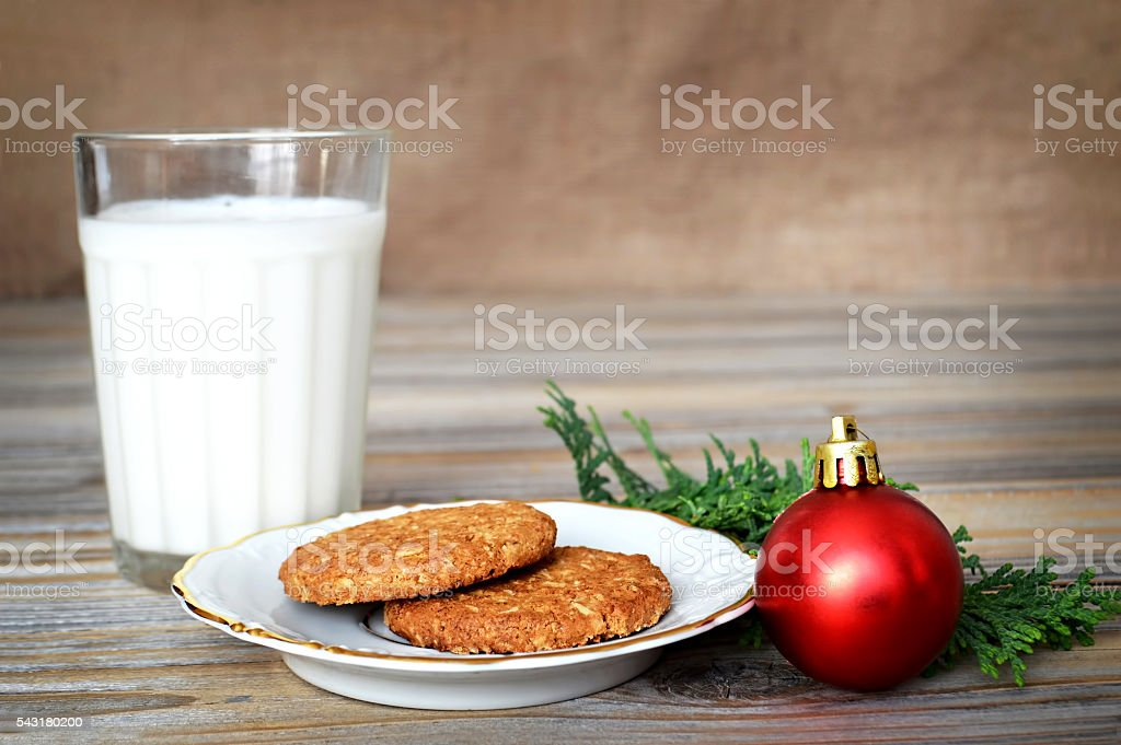 Milk And Cookies For Santa Claus Stock Photo More Pictures Of Baked