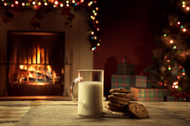 milk and cookies - christmas cookies stock pictures, royalty-free photos & images