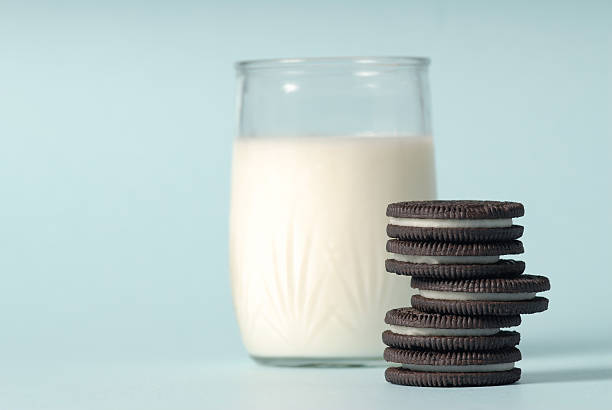 Milk and cookies stock photo
