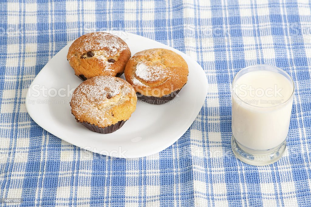 Milk and cupcakes royalty-free stock photo