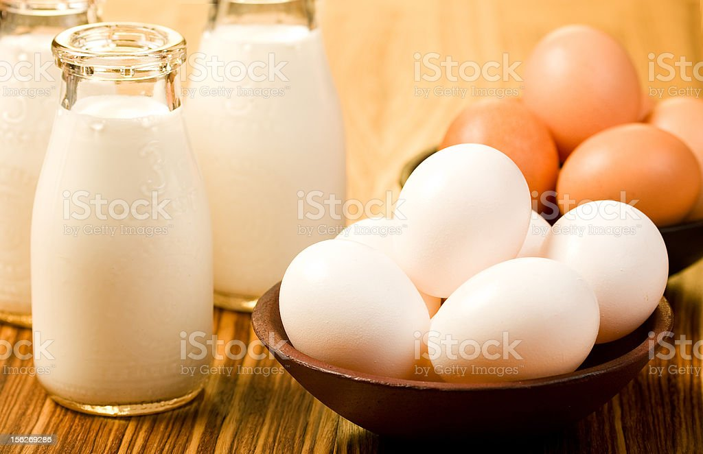 Milk and Eggs stock photo