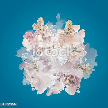 istock Milk and flowers exploding 941333624