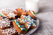 Gingerbread cookies decorated with icing and milk