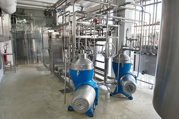 Milk and Ice Cream Factory Milk and Ice Cream Industry centrifuge stock pictures, royalty-free photos & images