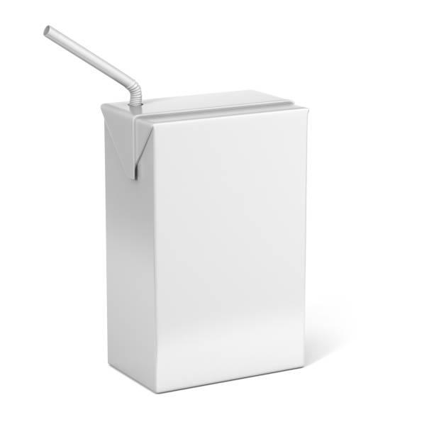 Lait et jus blanc boîtes pour maquette de paquet de détail vers le haut. - Photo