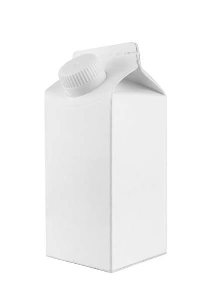 Paquet de carton blanc de lait et de jus - Photo