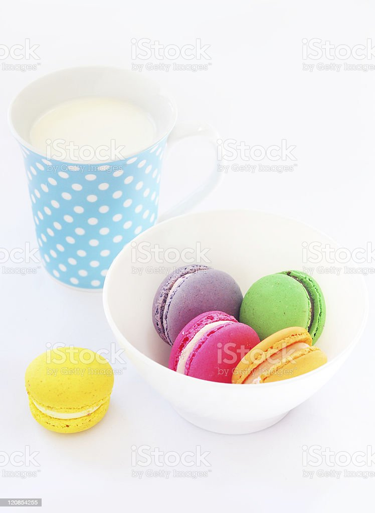 Milk and macaroons stock photo