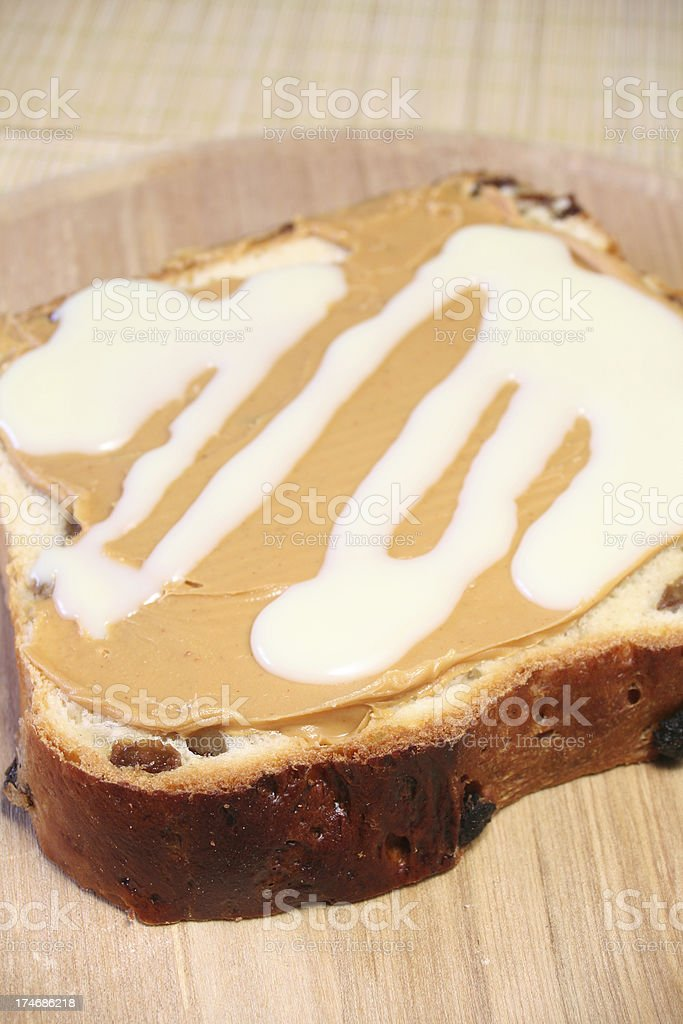 Milk and Peanut Butter stock photo