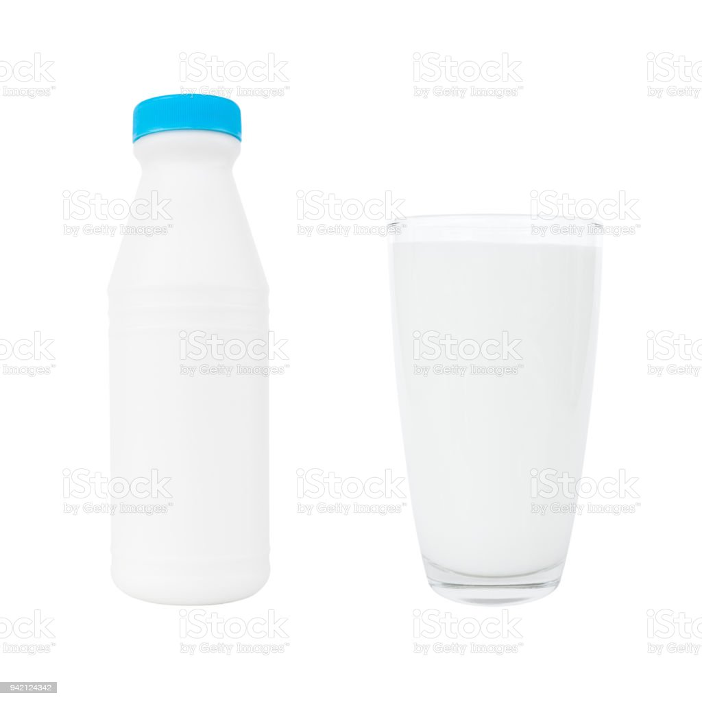 Milk bottle and milk glass isolated on white stock photo
