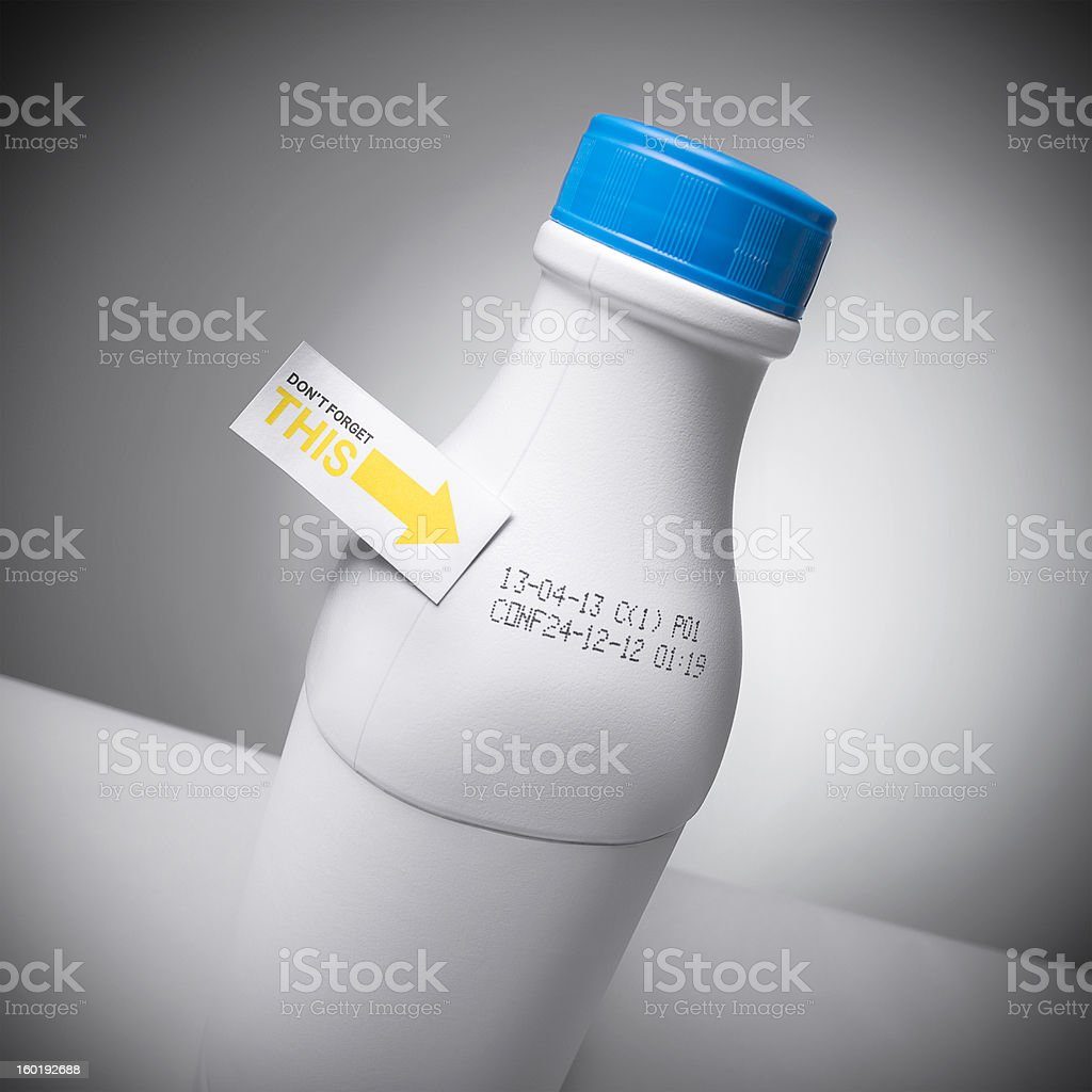Milk bottle best before date stock photo