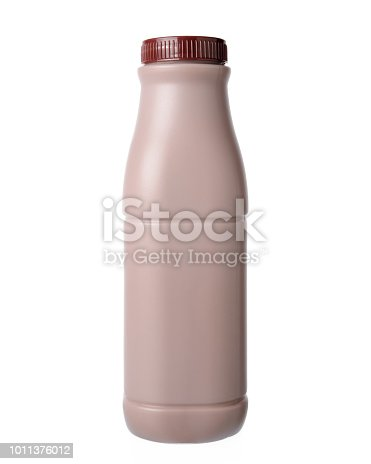 Chocolate milk in bottle., Isolated on a white background.