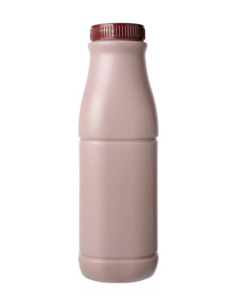 Milk bottle Chocolate milk in bottle., Isolated on a white background. chocolate milk stock pictures, royalty-free photos & images
