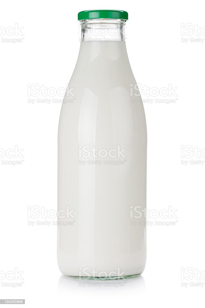 Milk bottle stock photo