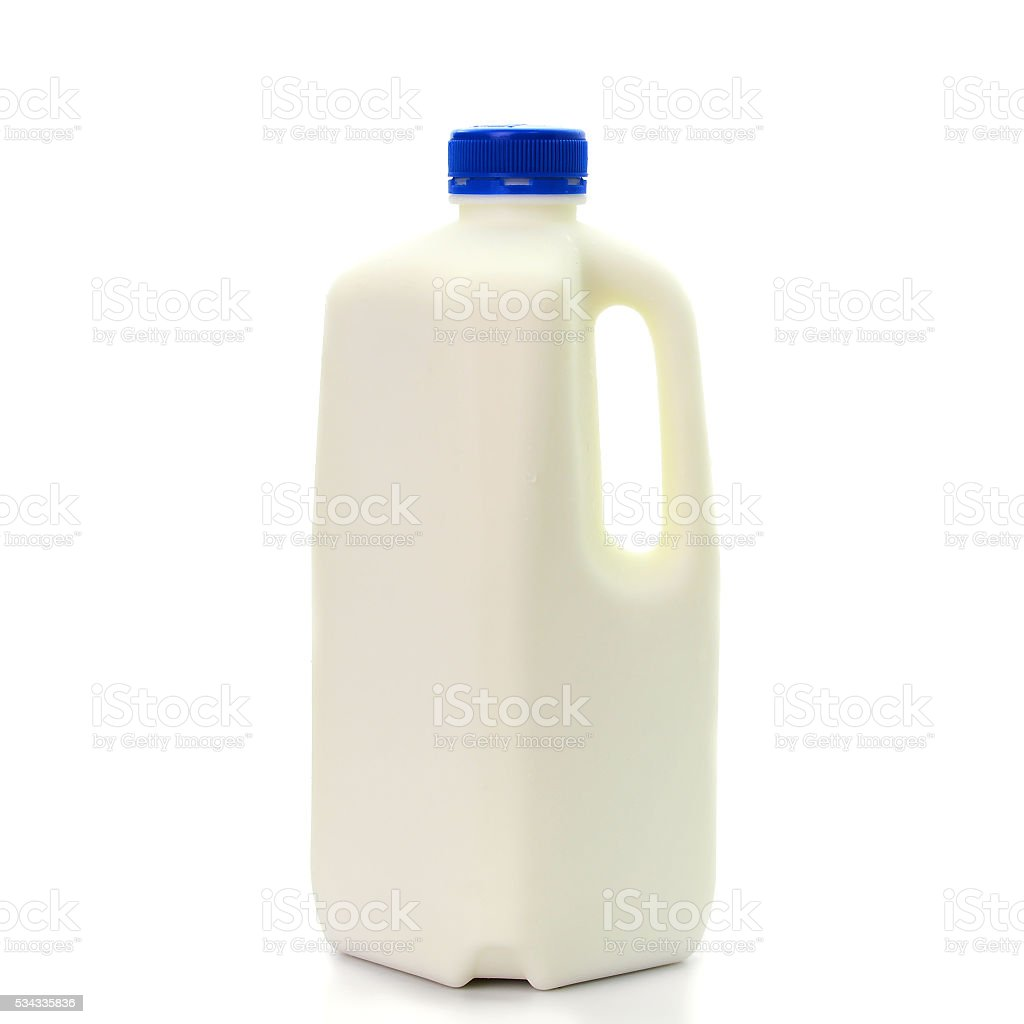 Milk Bottle with blud Cap Isolated on White Background stock photo