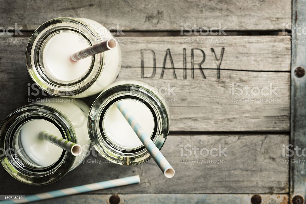 Milk Bottles on a Dairy Crate Horizontal stock photo