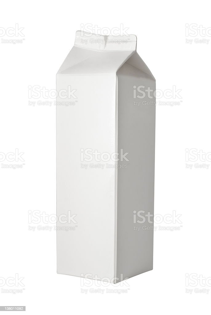 Milk Box per liter on White stock photo