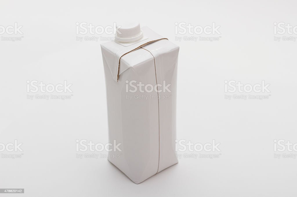 Milk (Water, Juice, liquid) box shape container in white colour stock photo