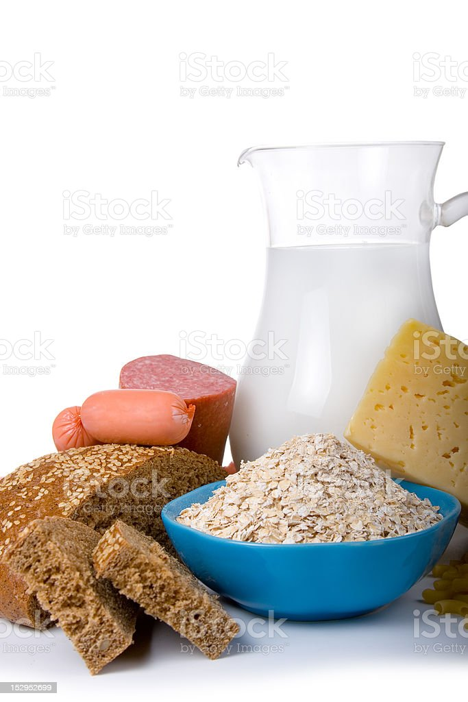 Milk, bread,  cheese and sausage royalty-free stock photo