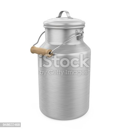 Milk Can isolated on white background. 3D render