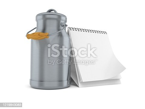 Milk can with blank calendar isolated on white background. 3d illustration