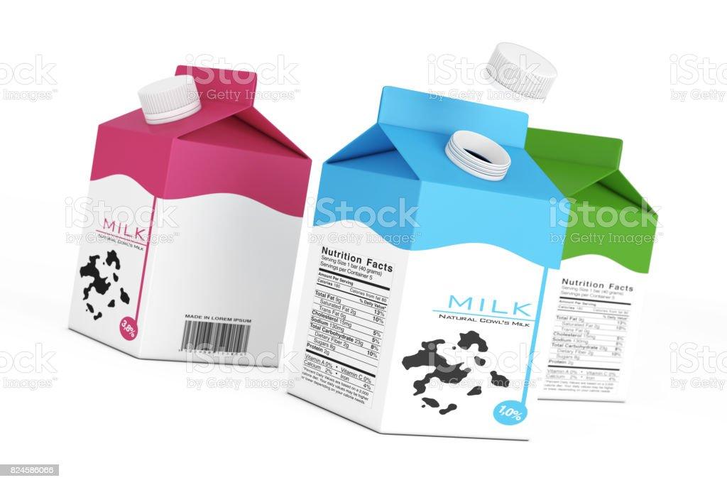 Boîtes de Carton de lait. rendu 3D - Photo