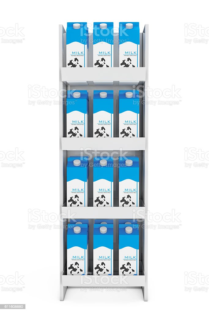Milk Carton Boxes In Store Shelf 3d Rendering Stock Photo - Download