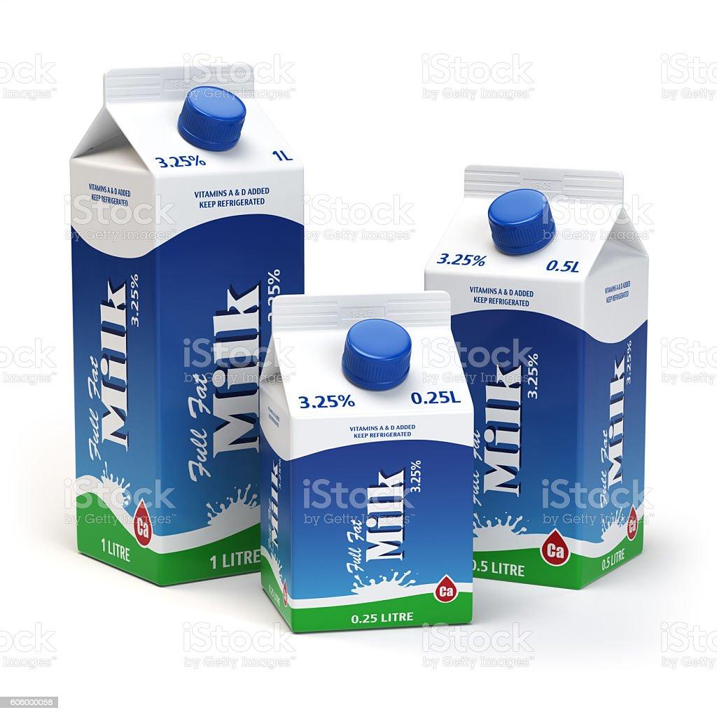 Milk carton packs isolated on white. Milk boxes. stock photo