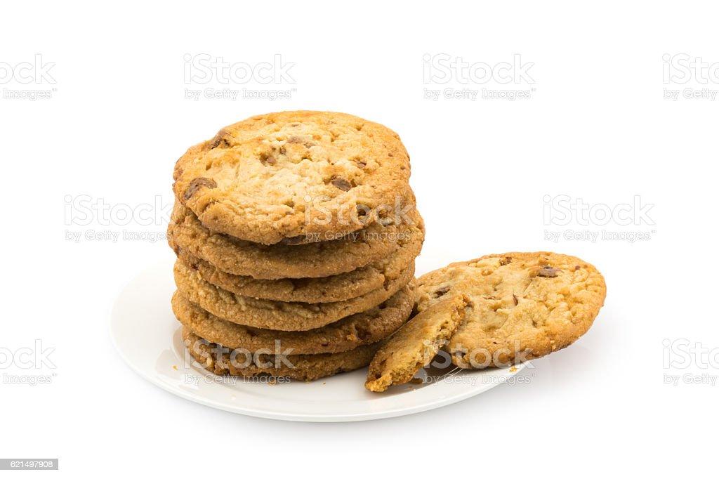 Milk chocolate almond cookies foto stock royalty-free