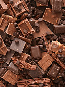 Top view of lots of milk chocolate pieces