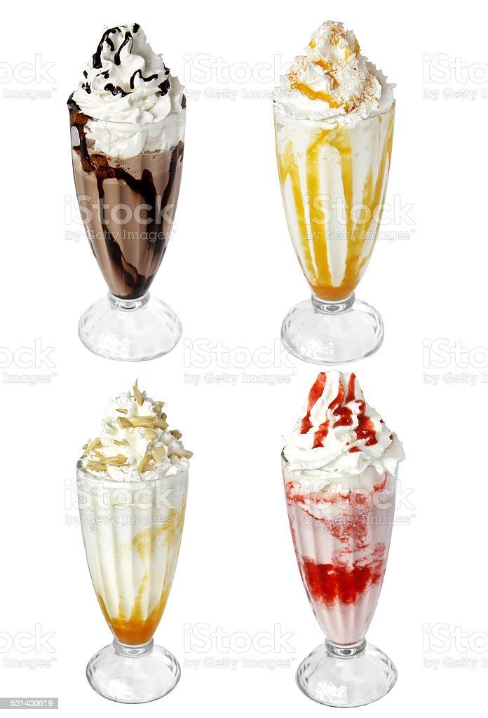 milk cocktail ice cream isolated on white background stock photo