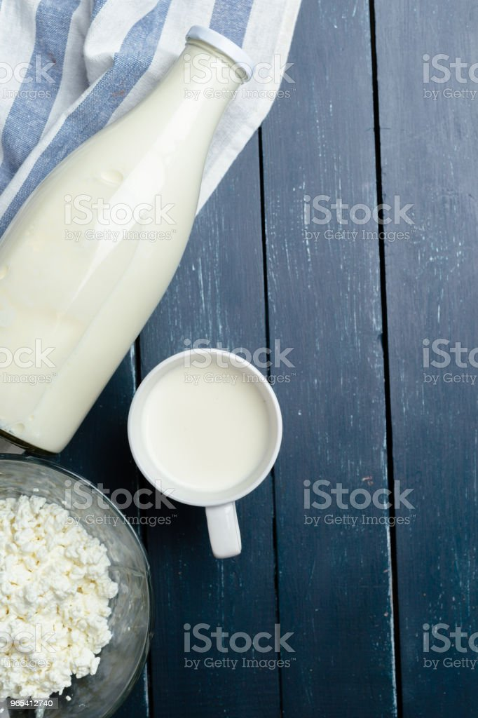 milk, cottage cheese - dairy products royalty-free stock photo
