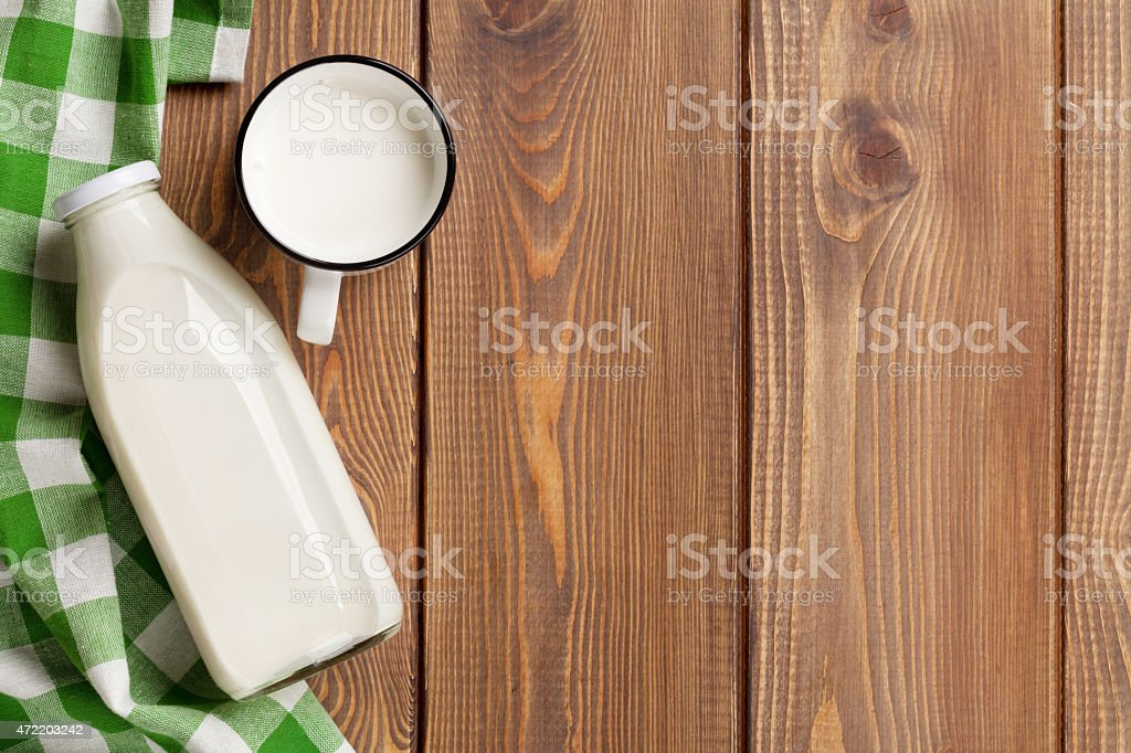 Milk cup and bottle stock photo