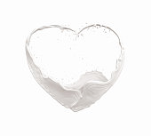 Milk flowing into heart shapes, Concept about Health treatment,The shape of the heart that communicates about love.